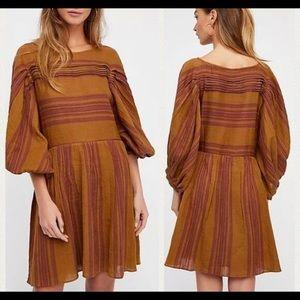 Brown Gauze Stripe Dress Batwing Puff Mini Dress